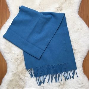 Vintage Blue 100% Lambs Wool Scarf made in Britain